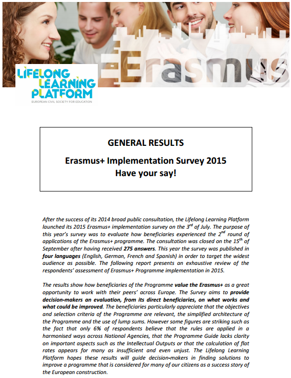 erasmus+ survey 2015